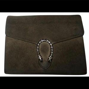 Gucci WOC taupe suede Dionysus bag